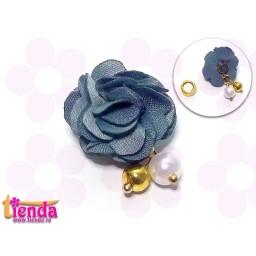 Floricică textilă gri-bleu -4-
