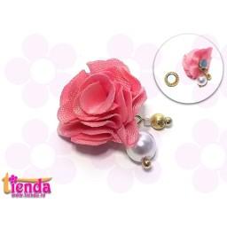 Floricică textilă nuanță de roz -5-