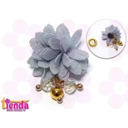 Floricică textilă gri -7-
