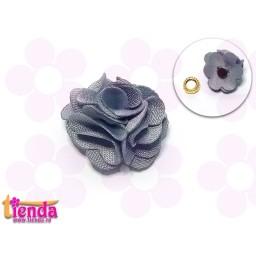 Floricică textilă gri -8-