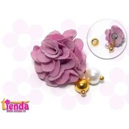 Floricică textilă nuanță de roz-11-